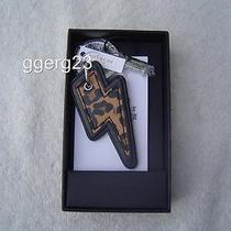 New Authentic Coach Ocelot and Leather Lightning Bolt Key Fob 64579 Photo