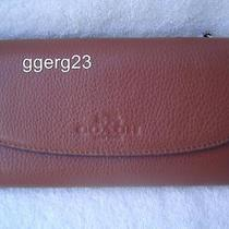 New Authentic Coach Saddle Pebble Leather Check Book Wallet 52715 Photo