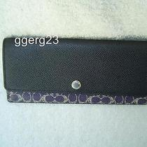 New Authentic Coach Violet and Black Signature Soft Wallet 52448 Photo