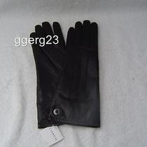 New Authentic Coach Womens Black Leather Cashmere Lined Gloves 83007 Size 8 Photo