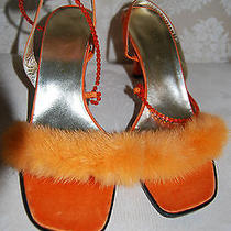 New Authentic Escada Rare Mink Fur Shoes. Very Stylish and Unique. Sz 37 Us 7 Photo