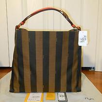 New Authentic Fendi Pequin Jacquard Hobo Bag Purse (Tobacco-Orange Retail1250) Photo