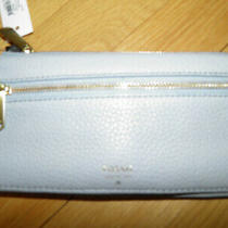New Authentic Fossil Preston  Leather Clutch/wallet Smokey Blue 65.00 Org Photo