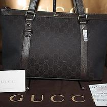 New Authentic Gucci Abbey D Ring Gg Brown Canvas Monogram Tote Bag Gift Receipt Photo