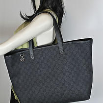 New & Authentic Gucci Gg Denim  Interlocking Charm Large Tote - Black Photo