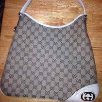 New Authentic Gucci Hobo Monogram Print With Leather Trim Handbag Purse Photo