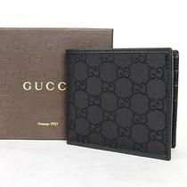 New Authentic Gucci Mens Black Gg Nylon Bifold Wallet 143383 1000 Photo