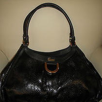 New Authentic Gucci Python Black Leather D-Ring Large Hobo Handbag Photo