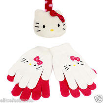 New Authentic Hello Kitty Earmuffs and Glovesone Size Fits Mostred and White Photo