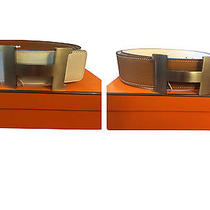New Authentic Hermes 42mm White/brown Leather Belt Kit Constance H Buckle W Photo