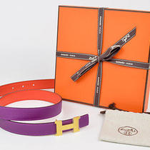New Authentic Hermes Reversible Constance 24mm Belt Kit Anemon Capucine 80cm Photo