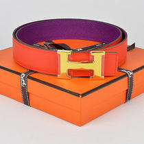 New Authentic Hermes Reversible H 32mm Belt Kit Anemon Capucine 80cm  Photo