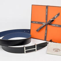 New Authentic Hermes Reversible H 32mm Belt Kit Black Blue Sapphire 105cm Photo