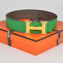 New Authentic Hermes Reversible H 32mm Belt Kit Bamboo Green Etain 75cm  Photo