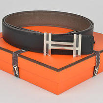 New Authentic Hermes Reversible H 32mm Belt Kit Black Grey Etain 105cm Photo