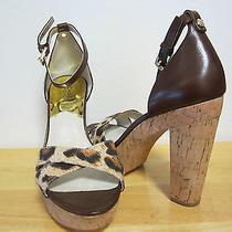 New Authentic Michael Kors Brown Camilla Platform Sandals Size 7.5 M Photo
