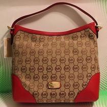 New Authentic Michael Kors Millbrook Signature Brown Tote Handbag Shoulder Bag Photo