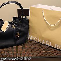 New Authentic Michael Kors Pvc Med Ew Ring Tote Handbag Navy Blue Photo