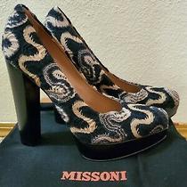 New Authentic Missoni Wave Black Tan Chunky Heels Size 40 Photo