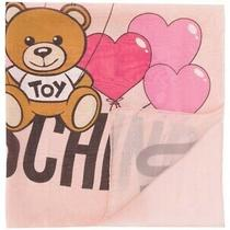 New Authentic Moschino 100% Silk Large Scarf Cute Teddy Bear Love Heart Balloons Photo