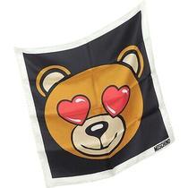 New & Authentic Moschino 100% Silk Scarf Teddy Bear Love Passion Romance Heart Photo