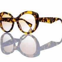 New Authentic Prada Sunglasses Spr 12ps 7s0/9s1 Yellow Havana/brown Gradient Photo