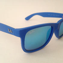 New Authentic Ray-Ban Justin Sunglasses Blue Mirror Wayfarer Rubber Rb4165 51mm Photo