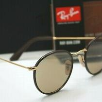 New Authentic Ray Ban Rb 3475q 112/5 Brown Round Leather Craft Sunglasses Nib  Photo