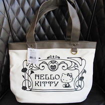 New Authentic Sanrio Hello Kitty Canvas Handbag Tote Off White/brown Nwt Msrp26 Photo