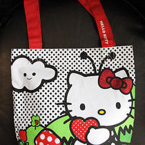 New Authentic Sanrio Hello Kitty Fabric Handbag Tote Polka Dot Hello Kitty Print Photo