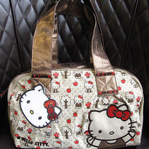 New Authentic Sanrio Loungefly Hello Kitty Bronze Leather Canvas Handbag Tote  Photo