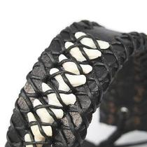 New Authentic Shark Tooth Fossil Gothic Punk Black Leather Wristband Bracelet Photo