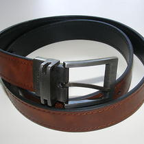 New Authentic Size 42 Fossil Men's Dark Brown / Black Reversible Leather Belt Photo