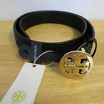 New Authentic Tory Burch Black Leather Marion Quilted Logo Belt Size S Photo