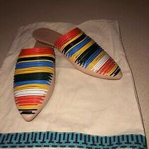 New Authentic Tory Burch Sienna Pointy Toe Rainbow Striped Slipper Mules Photo