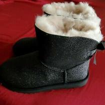 New Authentic Ugg Australia Bailey Bow Black Sparkle Boots Women's Size 8 Photo