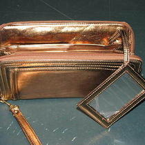 New Avon Gold Zippered Metallic Bag Clutch Handbag With Wrist Strap & Mirror Photo