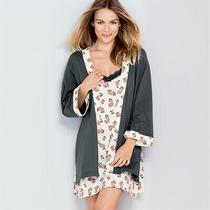 New Avon Ladies 100% Cotton Bath Robe Dressing Gown Peony Floral 18-20 Photo