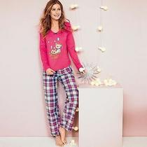 New Avon Ladies Pink Blue Tartan Pyjamas 16-18 Teddy Bear  Photo
