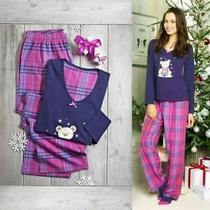 New Avon Ladies Teddy Bear Pyjamas 8-10 Pink Purple Tartan Check Photo