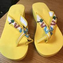 New Avon Pretty Yellow Summer Bathing Suit  Toe Loop Wedge Flip Flops Size 7-8m Photo