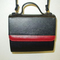 New Avon Purse W/ Change Purse Small Black W/ Red Carry Handle / Shoulder Strap Photo