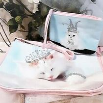 New Avon Set of 2 White Cat Clutch or Strap Purse Handbag  Wristlet Pink Blue  Photo