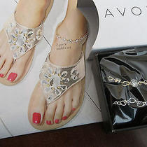 New        Avon Tear  Drop Flip Flops/large/glittering Goddess Anklet Set Photo