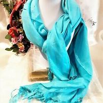 New Avon Turquoise & Silver Metallic Threads Women's Scarf Wrap 68