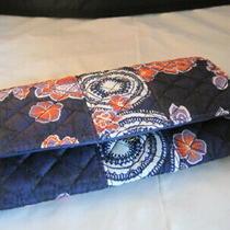New Avon Vera Style Clutch Cotton Wallet Navy and Orange Photo