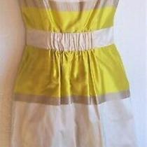 New Aysha Anthropologie 100% Silk-Satin Lemon Cream Fit & Flare Dress Sz 0 Photo