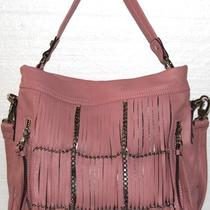 New B. Makowsky Glove Leather Convertible Hobo W/ Fringe & Chain Pink Photo