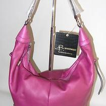 New B. Makowsky Glove Leather Zip-Top Hobo Purse Side Pockets Chianti Purple Photo
