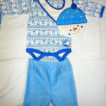 New Baby by Bon Bebe Snowman 3pc Set Long Sleeve Bodysuit Pants Bib 3-6 Months  Photo